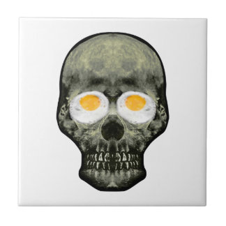 Skull with Fried Egg Eyes Tile