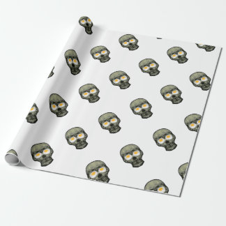 Skull with Fried Egg Eyes Wrapping Paper