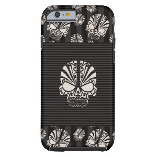 Skull with Gray and Black Stripes Tough iPhone 6 Case