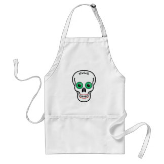 Skull with Green Eyes and Red Lips Apron
