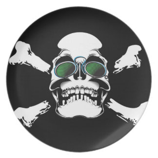 Skull with Green Sunglasses Art Party Plate