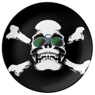 Skull with Green Sunglasses Art Porcelain Plates