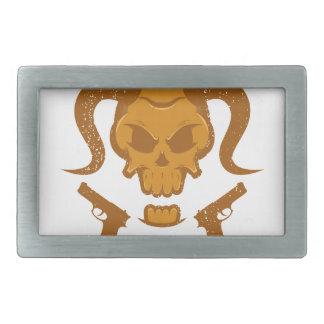 Skull with gun belt buckles