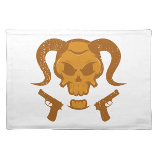 Skull with gun placemat