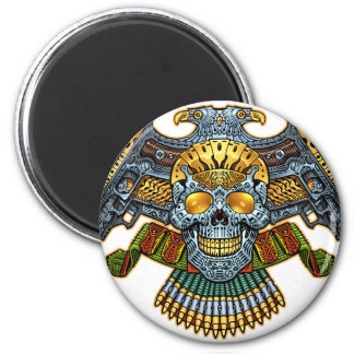Skull with Guns and Bullets by Al Rio 6 Cm Round Magnet