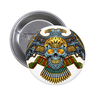 Skull with Guns and Bullets by Al Rio Buttons