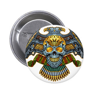 Skull with Guns and Bullets by Al Rio 6 Cm Round Badge
