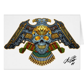 Skull with Guns and Bullets by Al Rio Greeting Card
