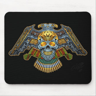 Skull with Guns and Bullets by Al Rio Mouse Pad