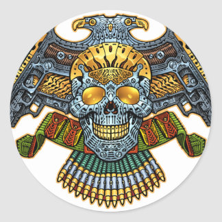 Skull with Guns and Bullets by Al Rio Classic Round Sticker