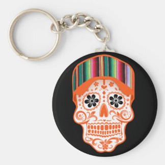 Skull with Hat Basic Round Button Key Ring