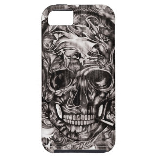 Skull with headphones hand drawn artwork. case for the iPhone 5