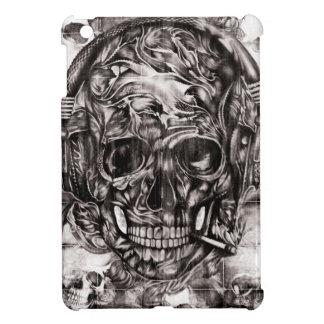 Skull with headphones hand drawn artwork. iPad mini cover