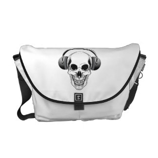 Skull with Headphones Courier Bags