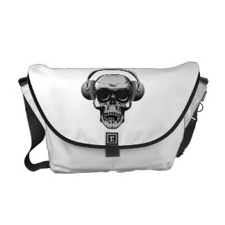 Skull with Headphones & Sunglasses Courier Bags