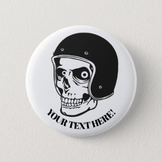 Skull with helmet 6 cm round badge
