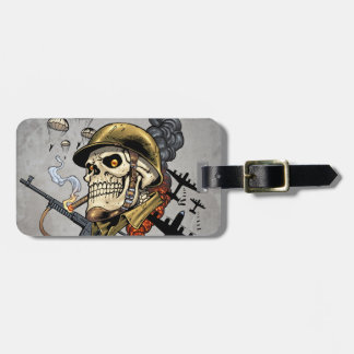 Skull with Helmet, Airplanes and Bombs Luggage Tag