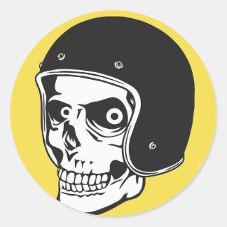 Skull with helmet classic round sticker