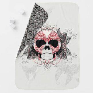 Skull With Lace Butterflies Art With Pattern Baby Blanket