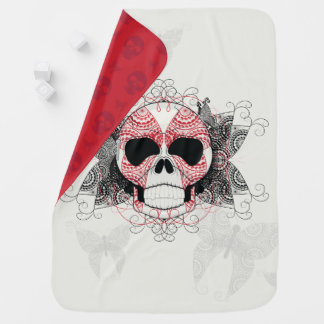 Skull With Lace Butterflies Art With Pattern Buggy Blankets
