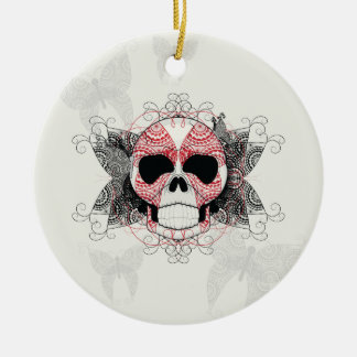 Skull With Lace Butterflies Art With Pattern Ceramic Ornament