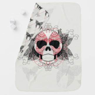 Skull With Lace Butterflies Art With Pattern Pram blanket