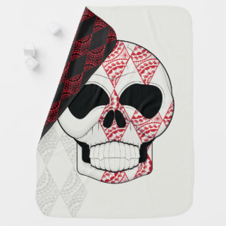Skull With Lace Diamonds Art With Pattern Buggy Blankets