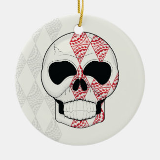 Skull With Lace Diamonds Art With Pattern Ceramic Ornament