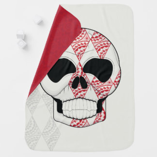 Skull With Lace Diamonds Art With Pattern Receiving Blanket