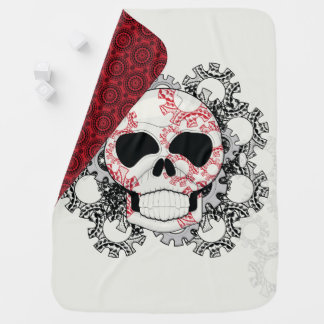 Skull With Lace Gears Art With Pattern Baby Blanket