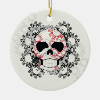 Skull With Lace Gears Art With Pattern Ceramic Ornament