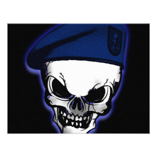 Skull with Military Beret Personalized Announcements