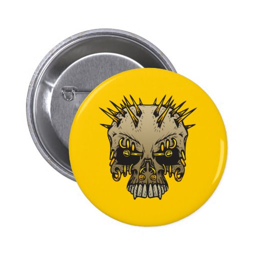 Skull With Piercings Pin