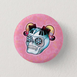 Skull with Pigtails Button
