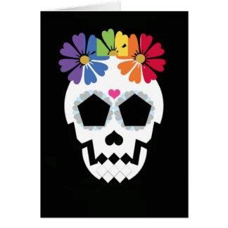 Skull With Rainbow Flowers Card