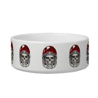 Skull with Red Football  Helmet Bowl