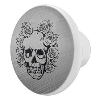 skull with roses ceramic knob