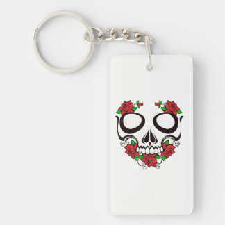 Skull with roses keychain