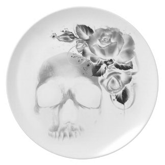 Skull with roses plate