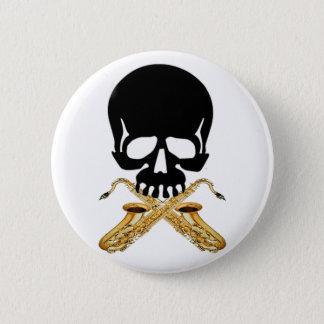 Skull with Saxophone as Crossbones 6 Cm Round Badge