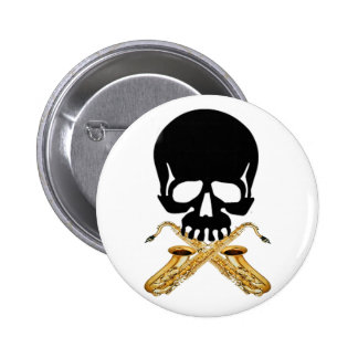 Skull with Saxophone as Crossbones 6 Cm Round Badge