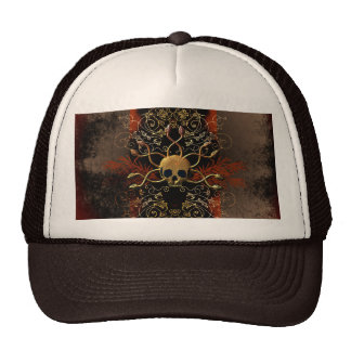 Skull with snakes on red background with damasks cap