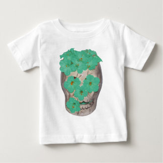 Skull With Soft Greenish Flowers Baby T-Shirt
