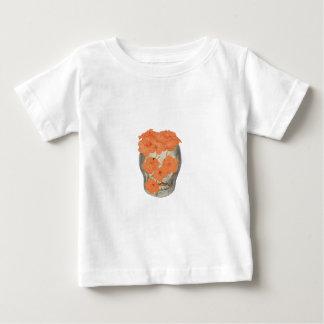 Skull With Soft Tangerine Orange Flowers Baby T-Shirt