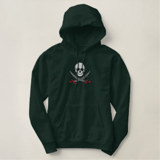 Skull with swords men's embroidered pullover hoody
