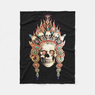 Skull with Tibetan Headdress Fleece Blanket