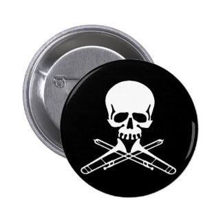 Skull with Trombones as Crossbones 6 Cm Round Badge