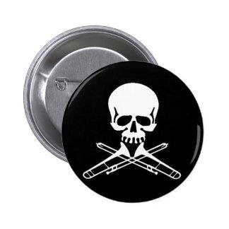Skull with Trombones as Crossbones 6 Cm Round Badge