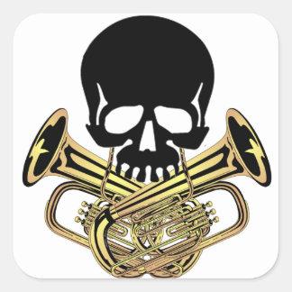 Skull with Tuba Crossbones Square Sticker