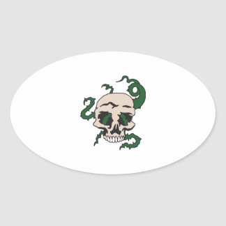 SKULL WITH VINES OVAL STICKER